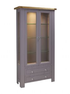 Charltons Bretagne Solid Oak 2 Door Display Cabinet with Light